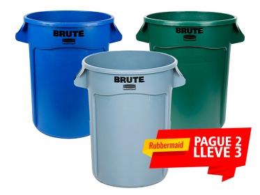 Caneca Rubbermaid Brute® 121 Litros PROMOCION 2X3 Verde-Gris-Azul